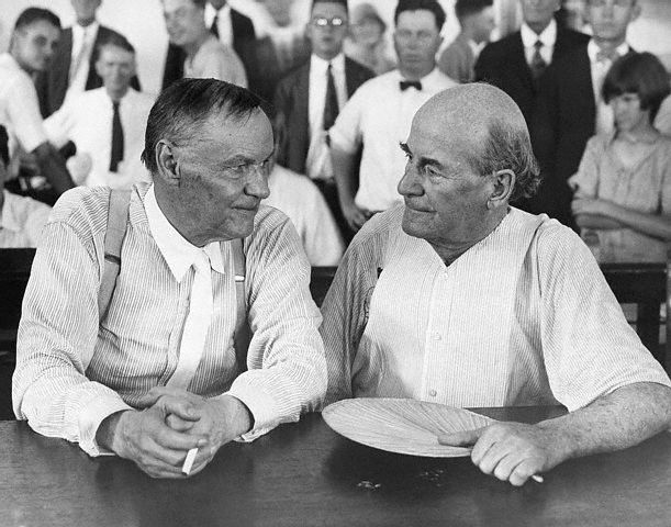 Photo taken of Clarence Darrow (left) and William Jennings Bryan (right) during the Scopes Trial in 1925